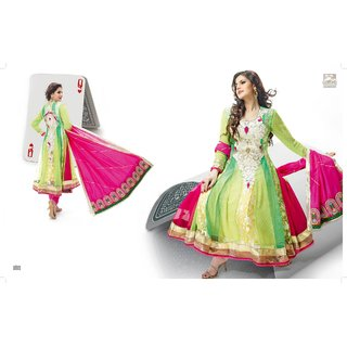 Zarine khan Anarkali suit with Green color   with combination embroidery