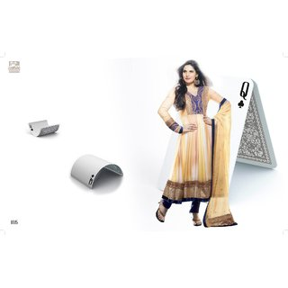 Zarine khan Anarkali suit with Cream and golden color