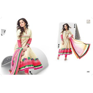 Zarine khan Anarkali suit with light yellow and pink combination
