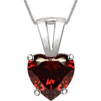 Silver Dew 925 Sterling Silver Valentine Soliatire Heart Garnet Pendant