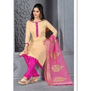 Vastrani Beige & Pink coloured Chanderi Cotton Dress Material 251D1009