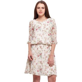 Spring Floral V Neck Dress