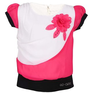 Leichie Casual Top With Flower Broach Design No.2302 Pink
