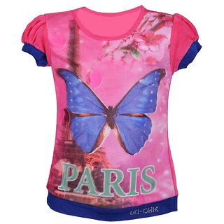 Leichie Casual Top With Digital Butterfly Print Design No.2307 Pink
