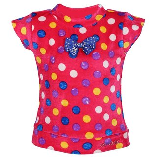 Leichie Casual Top With Multi Polka Dots & Bow Design No.2327 Pink