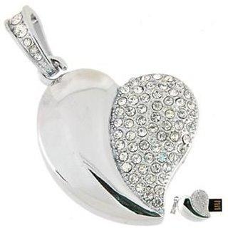 Microware Silver Heart Shape 16 Gb Pen Drive