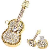 Microware Guitar Shape Golden Jewellery Designer Pen Drive 8 Gb