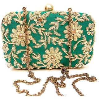 Greenish gold clutch