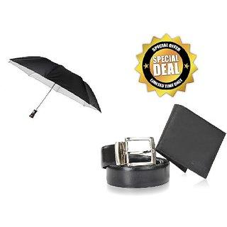 2-Fold Black Umbrella + Men's Belt + Wallet Combo
