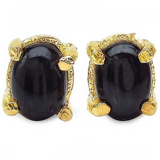 1.80CTW 7x5mm Oval Shape Genuine Black Star Gold Plated Brass Earrings (KJET105BLKSTR_BR)