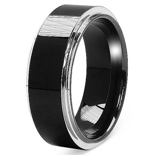 16.00 Grams Blackplated 8MM Tungsten Carbide Domed Polished Mens Band Ring (OSR074_TT_11)