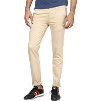 Inspire Men's Beige Regular Fit Casual Trousers