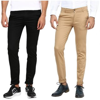 Inspire Combo Of Black  Khaki Slim Casual Chinos