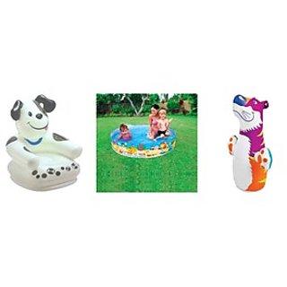 Intex Combo Pack Of Frog Chair & 3 Feet Tub & Penguine