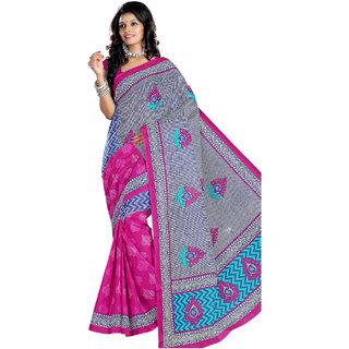 Kamal Saree Blue & Pink Cotton Saree