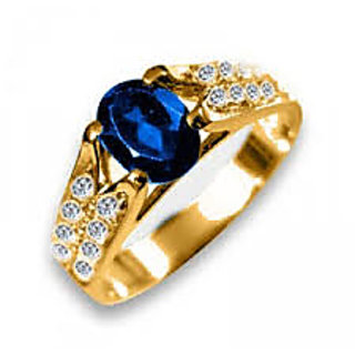 Diamond Ring 18K Gold With Blue Sapphire