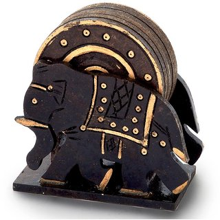 Elephant Design Wooden Tea Coaster Handicraft -110