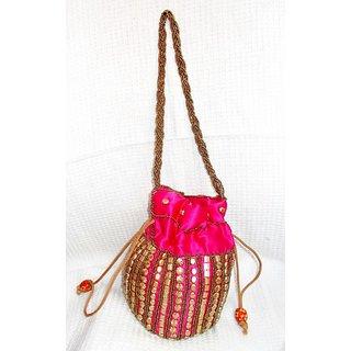Shreehit Ethnic Designer Potli Bag - Pink