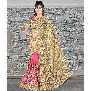 Beige & Dusty Pink Color Net & Viscose Georgette Saree