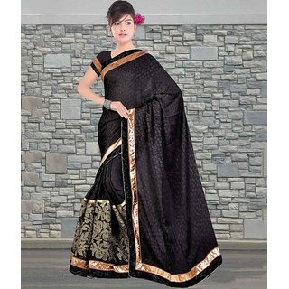 Black Color Pure Chinon Crepe Jacquard & Velvet Saree
