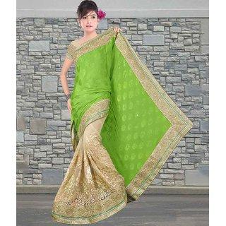 Green & Beige Color Pure Chinon Crepe Jacquard & Net Saree