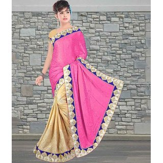 Pink & Beige Color Pure Crepe Satin jacquard & Chiffon Saree