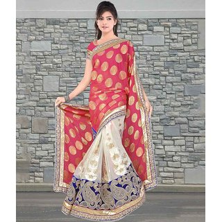 Dusty Pink & Off White Color Pure Viscose Georgette Jacquard & Net Velvet Saree