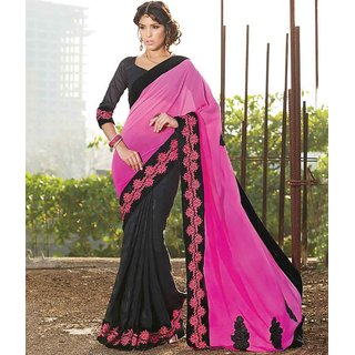 Pink & Black Color Weight less Georgette & silk crepe jacquard Saree