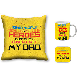meSleep Dad Hero Cushion Cover, Mug and Coaster Combo