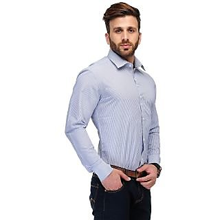 Edjoe Men's Sky Blue Check Slim Fit Casual/Party Wear Shirt