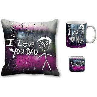 meSleep Love Dad Cushion Cover, Mug and Coaster Combo