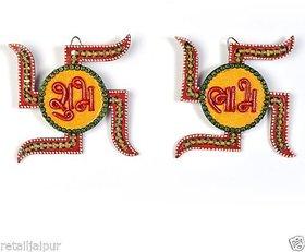 Bagru Craft Unique Handicraft Kundan Swastik Shape ShubhLabh Door Hanging