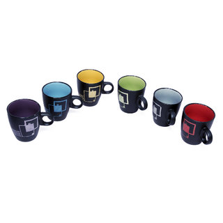 Brightline multi coloured Ceramic  Coffee Mug  set, 6-piece