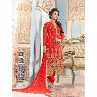Elegant Red-Golden Party Wear Suit