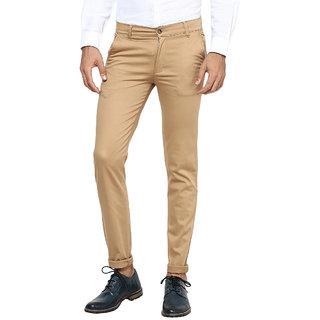 Men's Khaki Regular Fit Casual Trousers