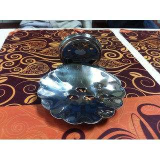 S.S. Flower steel heavy quality soap dish pack of 3