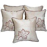 Leaf Embroidery Cushion Cover Ivory 5 Pcs Set