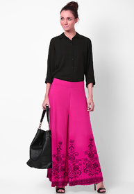 Ashish Fabrics Pink Plain Palazzo For Women