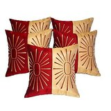Star Embroidery Cushion Cover Red/beige 5 Pcs Set