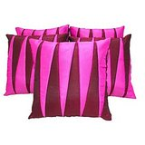 Zig Zag Patch Cushion Cover Pink Comb 5 Pcs Set