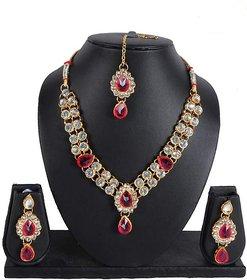 Rakhi Gifts Of Floral Designs Stone Kundan Short Necklace NK-1508