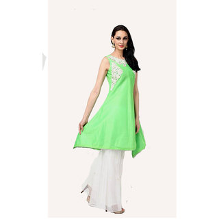 Green Suit and white sharara