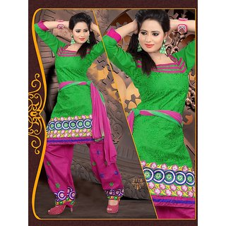 Suitsvilla New Designer Green And Pink Cotton Patiala Dress