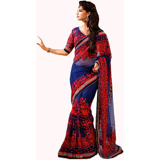 MarvelousBlue Georgette Embroidered Saree