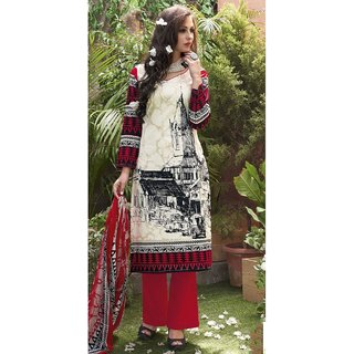 White & Red Cotton Salwer Dress Material