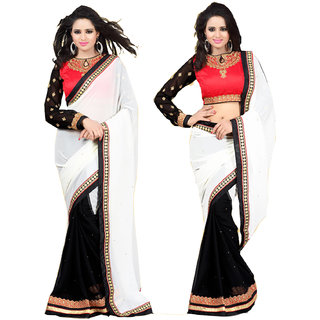 In Vogue White Chiffon Lace Saree
