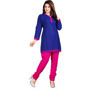 Sightly Blue and Pink Color Embelleshes Cotton Kurtis