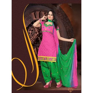 Suitsvilla New Designer Pink And Green Cotton Patiala Dress
