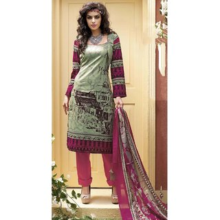 Creamish Green & meganta Cotton Salwer Dress Material