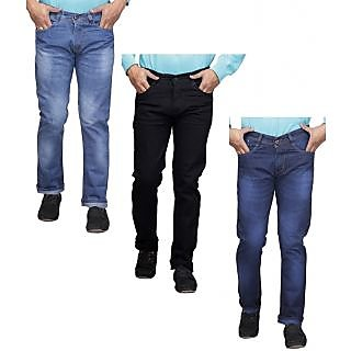 X-Cross Blue  Black Denim Mid Rise Jeans For Mens (Pack Of 3)